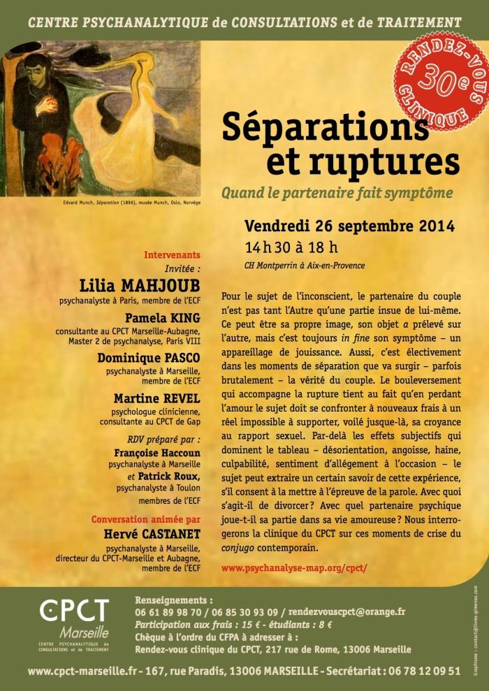 SEPARATIONS ET RUPTURES - 30e RV clinique du CPCT - 28 septembre 2014.