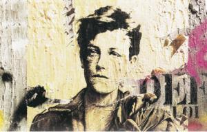Rimbaud fait le mur (d'après son portrait photographique à 17 ans, en 1871).