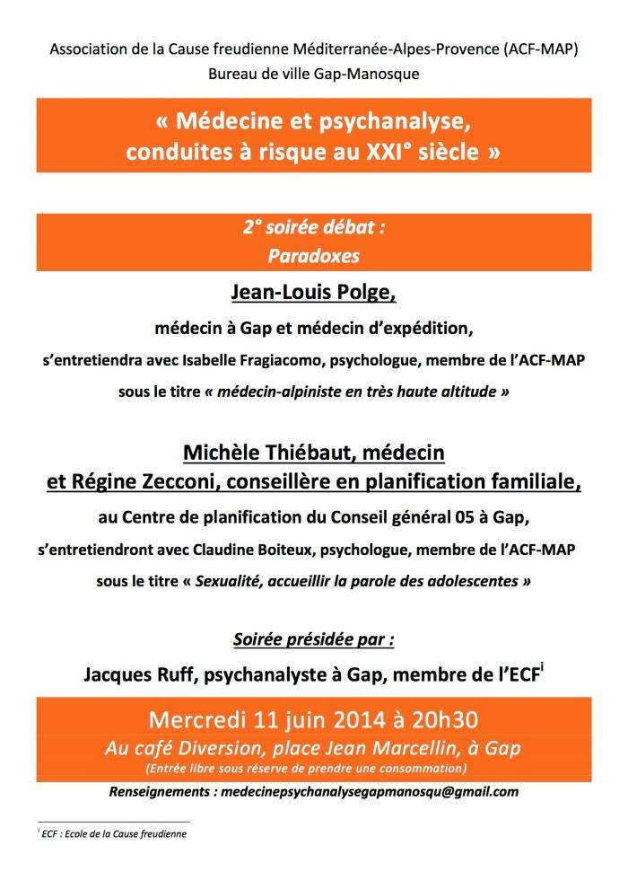 soirée médecine psychanalyse Gap 11.06.14
