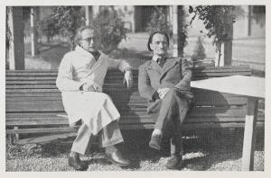 Antonin Artaud (à droite) et Gaston Ferdière à l'hôpital psychiatrique de Rodez en 1946.