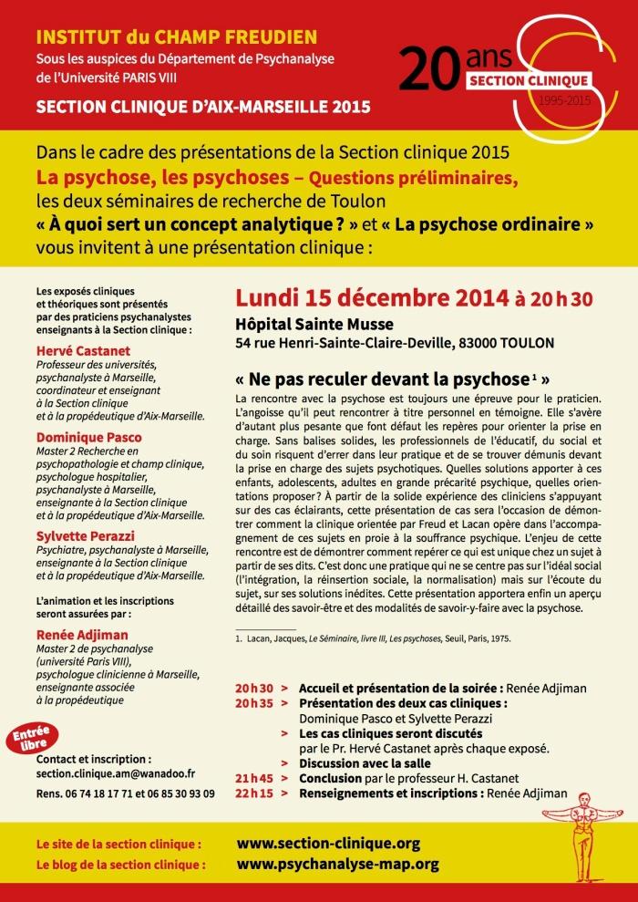 INSTITUT CHAMP FREUDIEN AFFICHE 15 DEC 2014 der TOULON