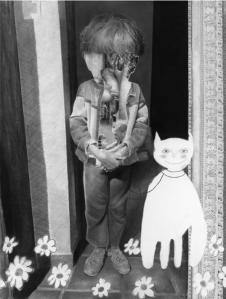 """Pierre-François et le chat qui rit, Jérôme Zonder, coll. privée. A voir à la Maison Rouge (Paris) dans le cadre de l'exposition personnelle """"Fatum"""",<br> 19 février-10 mai 2015."""