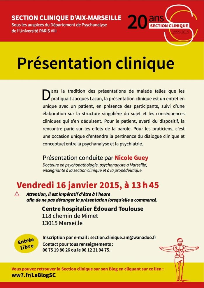 SECTION CLINIQUE présentation clinique 16 janvier 2015