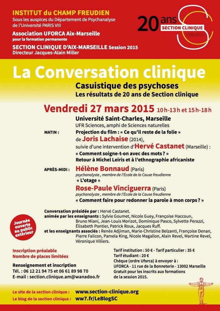 INSTITUT CHAMP FREUDIEN AFFICHE Conversation 27 mars 2015
