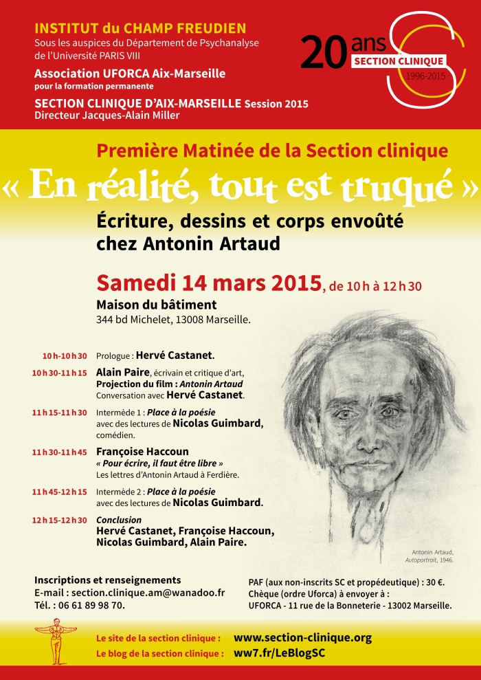 SC AFFICHE Matinée ARTAUD 14 mars 2015