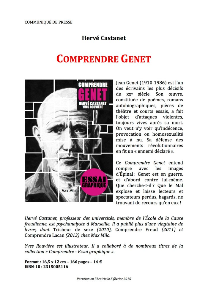 COMPRENDRE GENET- Communiqué presse