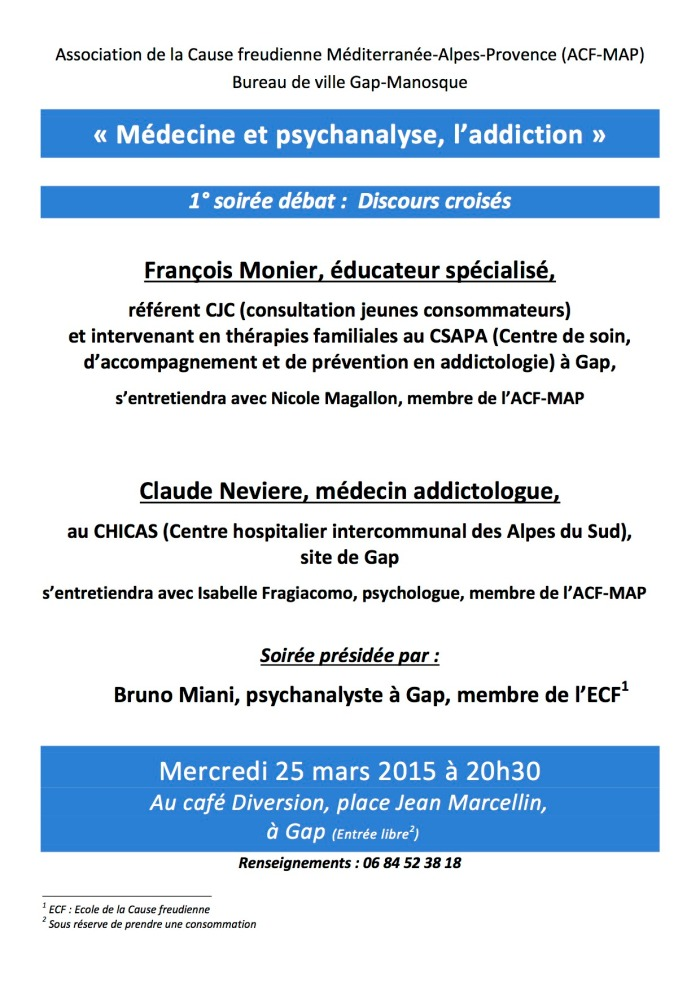 soirée médecine psychanalyse Gap 25.03.15