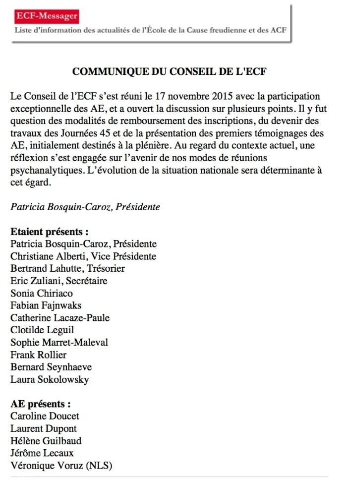 18-nov-[ecf-messager] COMMUNIQUE DU CONSEIL DE L'ECF»