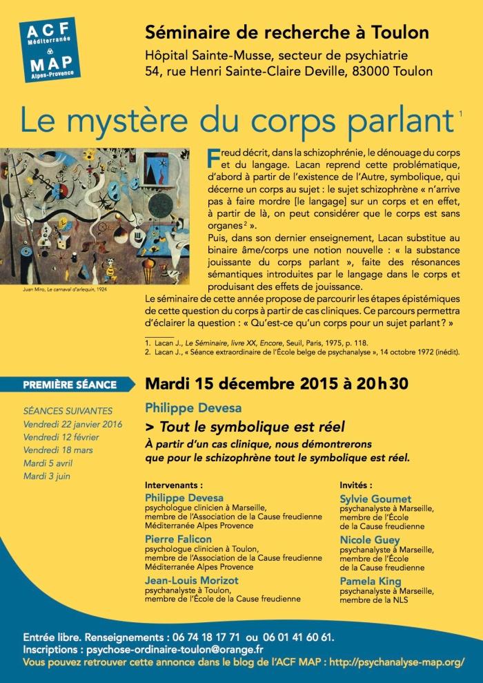 SEMINAIRE TOULON LE MYSTÈRE DU CORPS PARLANT 15 décembre