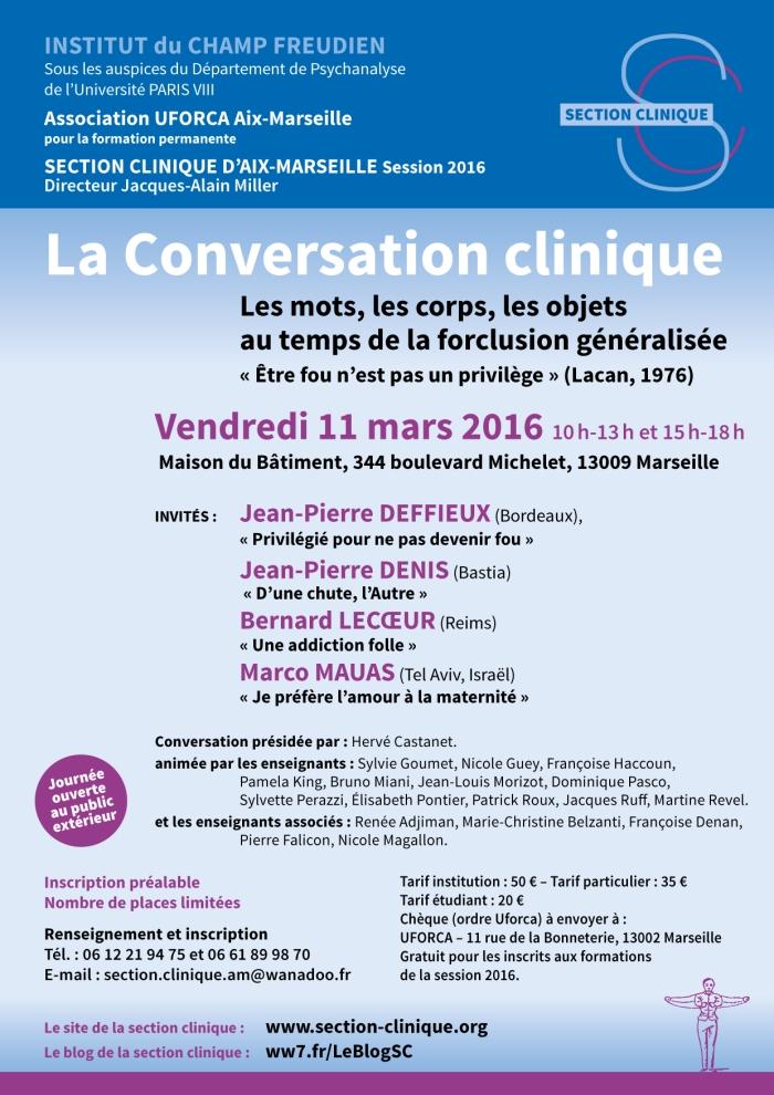 INSTITUT CHAMP FREUDIEN AFFICHE Conversation 11 mars 2016
