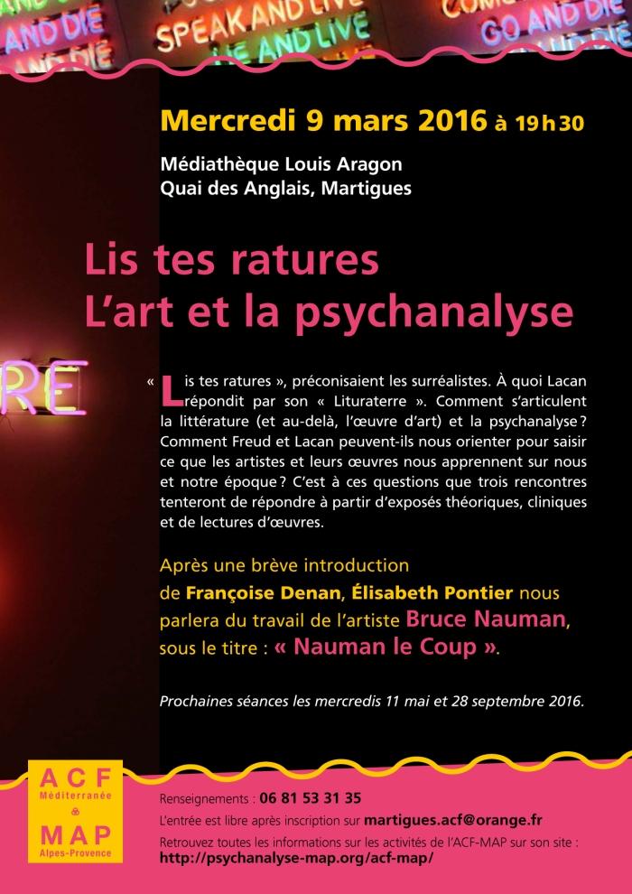 BRUCE NAUMAN conf Martigues 9 mars 2016