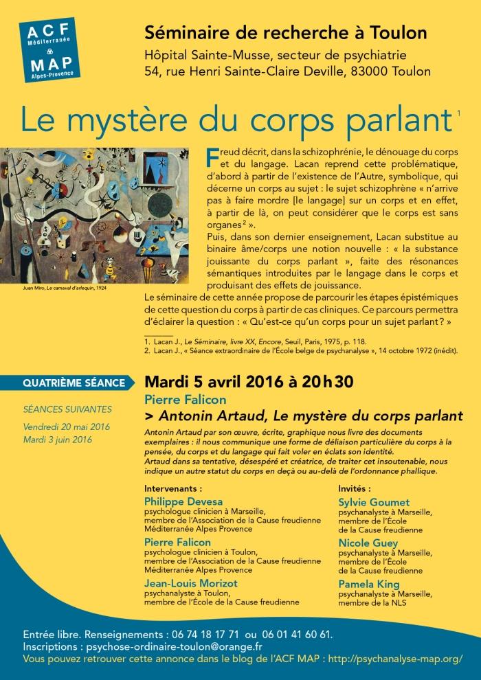 SEMINAIRE TOULON LE MYSTEERE DU CORPS PARLANT 5 avril