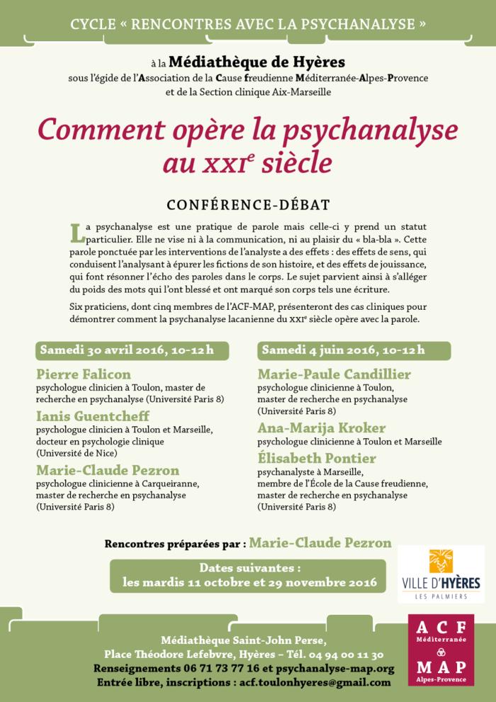 RENCONTRES HYÈRES COMMENT OPÈRE LA PSYCHANALYSE