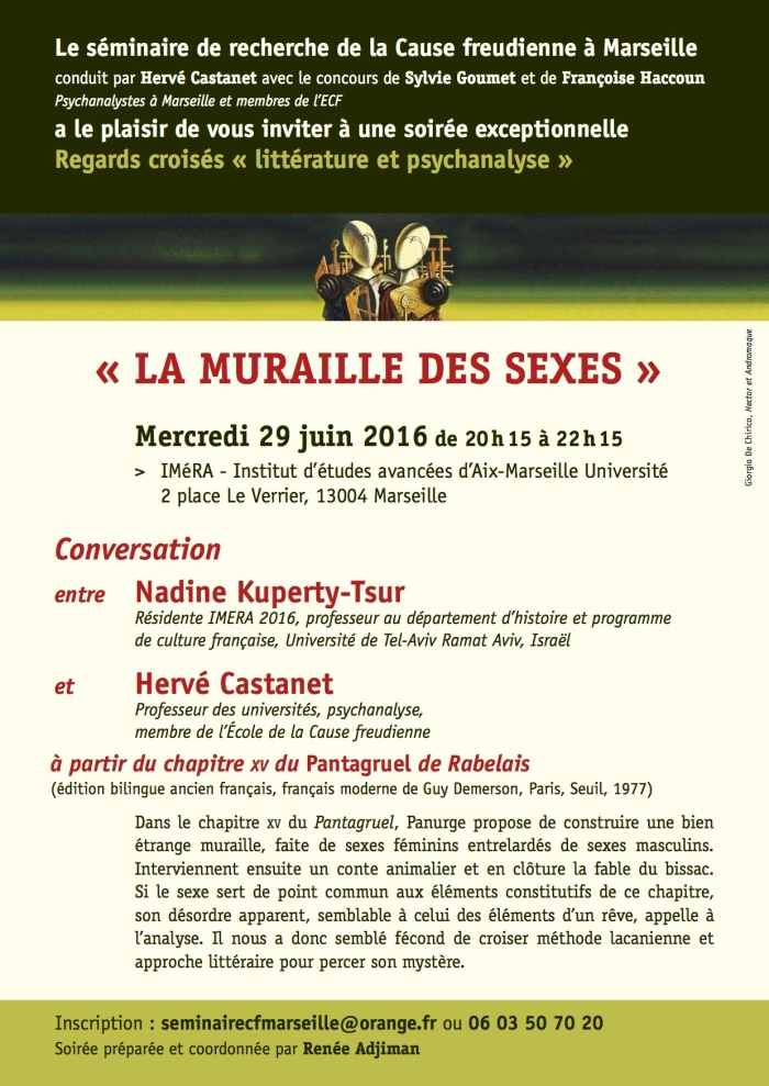 affiche SE?MINAIRE ECF La muraille de s sexes conversation 29 juin 2016