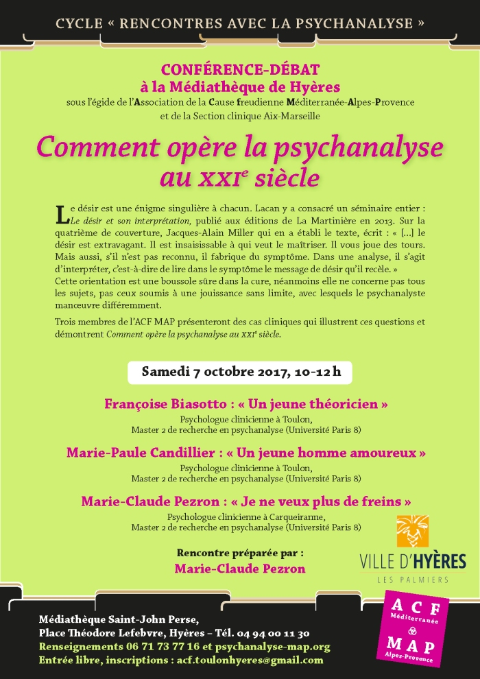 2-2-RENCONTRES HYE?RES COMMENT OPE?R E LA PSYCHANALYSE 7 octobre 2017