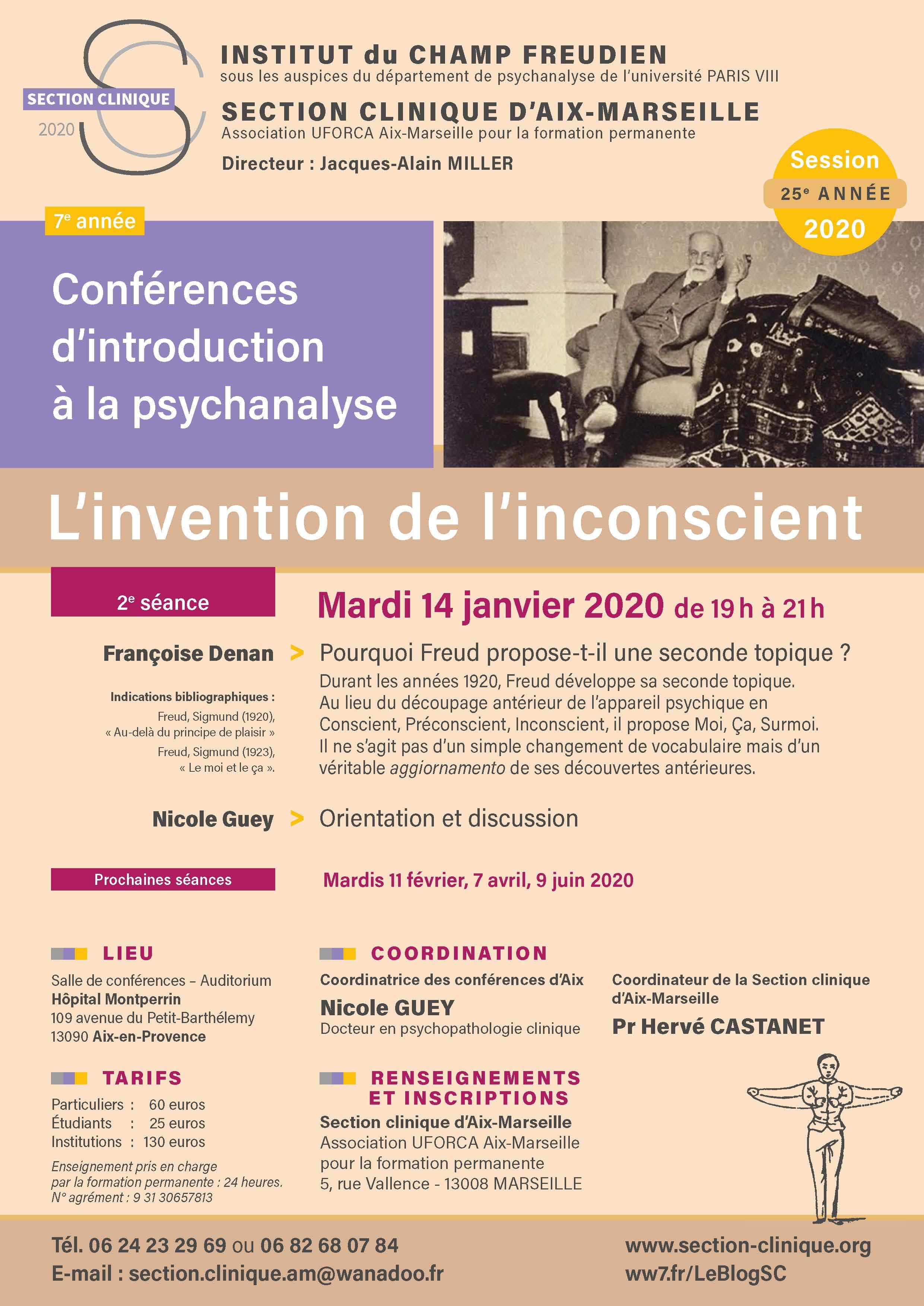 CONFE?RENCES D'INTRO A? LA PSYCHA NALYSE 2020 Affiche Séance 2